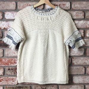 ASOS Short Sleeve Knit Sweater Fringe Size 2